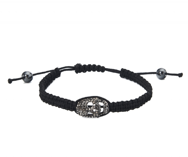 Diamante Black Gun metal finish skull bracelet